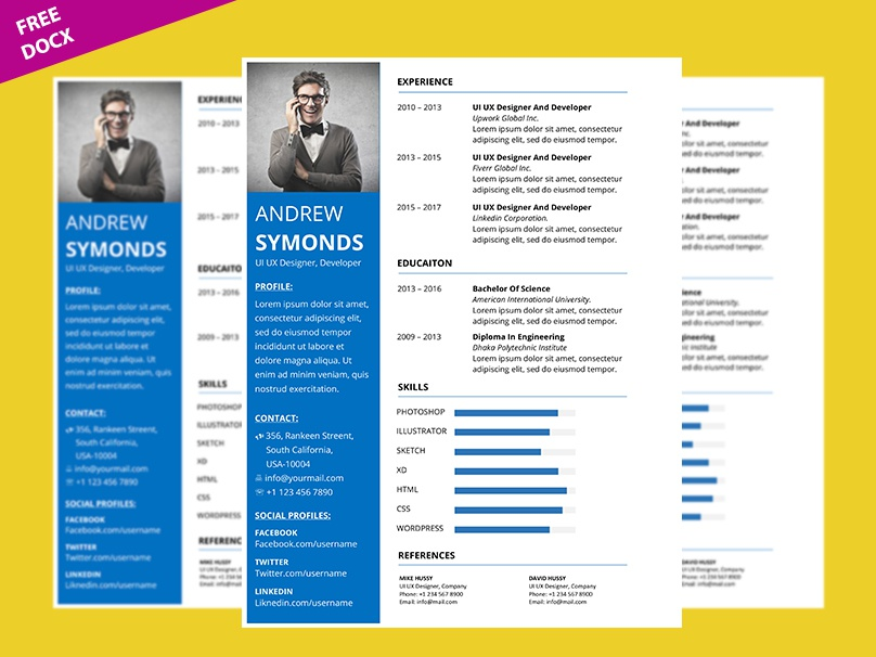 Microsoft Word Resume Template Free by Graphicslot on Dribbble