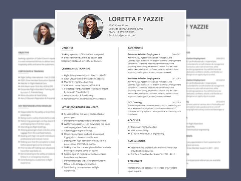 Resume Format For Cabin Crew Freshers Photoshop Cv Download Psd Free