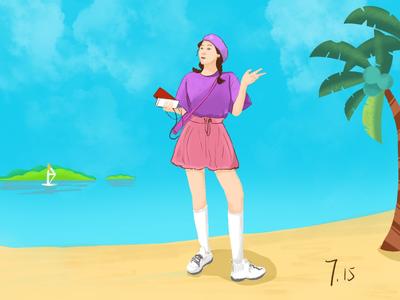 A girl on a sunny beach
