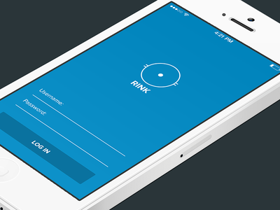 Rink ios login blue simple minimal form logo