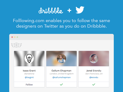 Folllowing - follow Dribbble designers on Twitter dribbble follow twitter api cards minimal simple flat blue browser integration