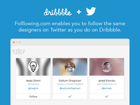 Folllowing - follow Dribbble designers on Twitter