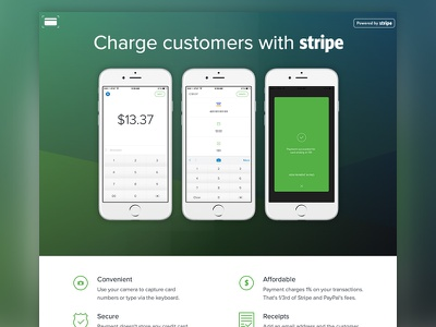Payment for Stripe stripe web ios landing charge views checkout payments