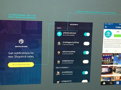 MVP Notifications app ios notifications instagram button color vibrant flow ux wireframe