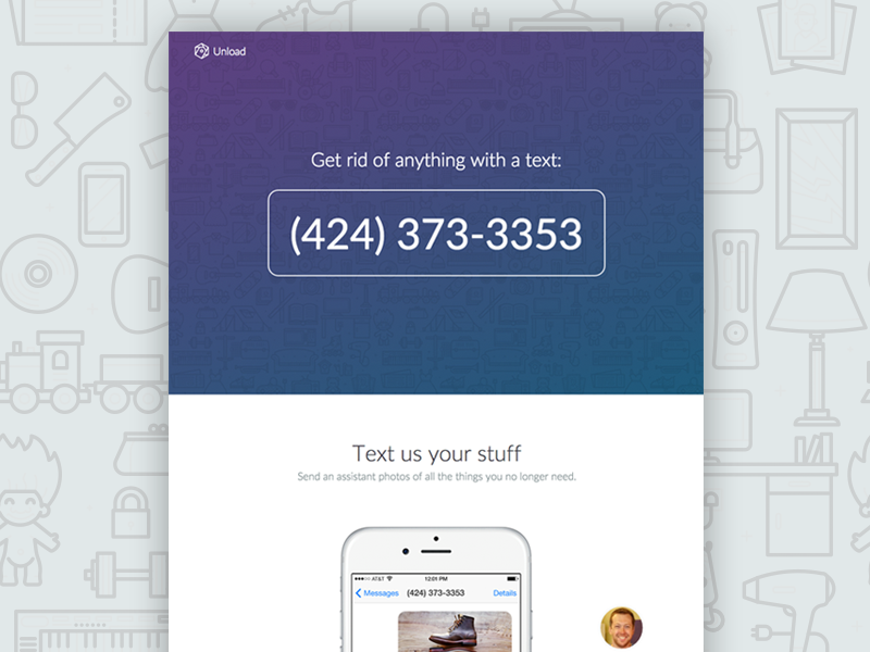 Unload - Get rid of your stuff with just a text vector illustration brand launch producthunt marketing app invisible text sms ios landing