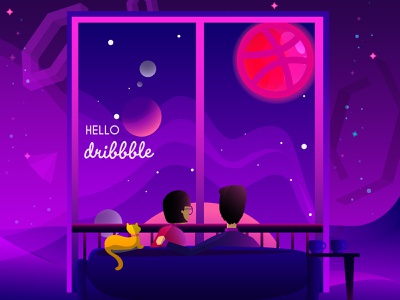 Hello Dribble! stay safe stay home thanks shot first typography illustration dribbble hello hellodribbble