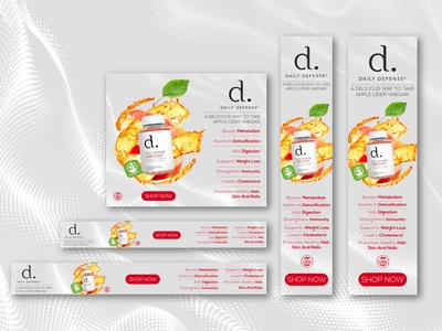 Web Banner Design For DAILY DEFENSE organic vinegar red apple apple apple cider vinegar flavored gummies web banner ad web banner web beauty enhancement woman photo manipulation cosmetics design cosmetics product cosmetics shot branding design banner ads graphic design