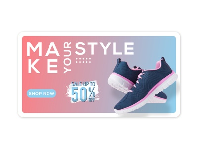 MAKE YOUR STYLE Web Banner sneakers graphic design banner ads shot web banner web banner ad ecommerce design ecommerce shopify plus shopify offer