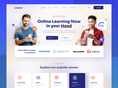 Class.id - Online Learning (Exploration) online course education online learning homepage website screen daily ui design uiux ui design
