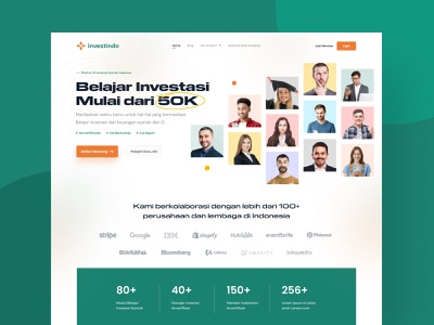 Investindo - Modern Syariah Investment (Homepage) ux app screen daily ui design ui homepage course ui design website investing apps landingpage investment productdesign uiux web design