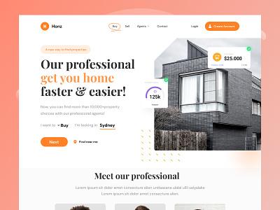 Honze Real Estate Website - Explorations property website realestate homepage website daily ui design uiux screen ui design