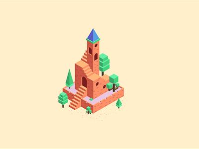 Castle on the Hill vector digitalart icon adobeillustrator cartoon vectordesign lineart flatdesign illustration