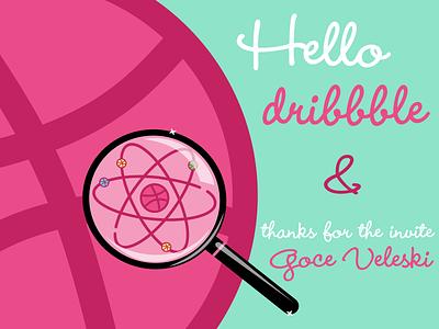 Hello dribbble! cartoon digit lineart vectordesign flatdesign logo atom illustration