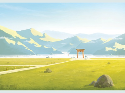 Torii on a river digital painting