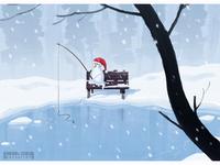 Snowman fishing