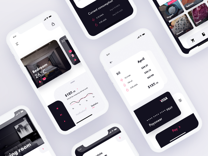 Smart Home UX UI adobe xd music audio ventilation humidity thermostat controls ux ui simple clean flat android app design ios app design ux research ui design