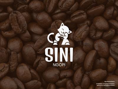 Sini Ngopi | Logo & Visual Identity cats coffee beans maneki neko cat logo cat coffeeshop coffee logo logos visual logo branding design branding brand brand identity graphic design logodaily coffee design elegant vector