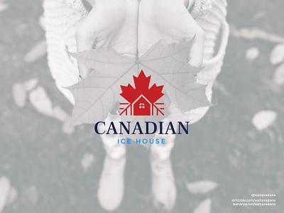 Canadian Ice House | Logo & Visual Identity house logo maple logo maple leaf canada logo restaurant logo icehouse restaurant canadian canada lettermark icon artwork logo design illustration creative logo graphic deisgn vector logodaily branding