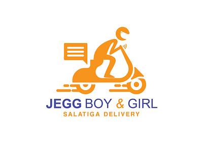 Jegg Boy & Girl | Logo badge delivery app delivery delivery logo fast logo fast quick logo quick motorcycle logo motorcycle deigner illustration icon vector logo design logo logodaily graphic deisgn creative branding