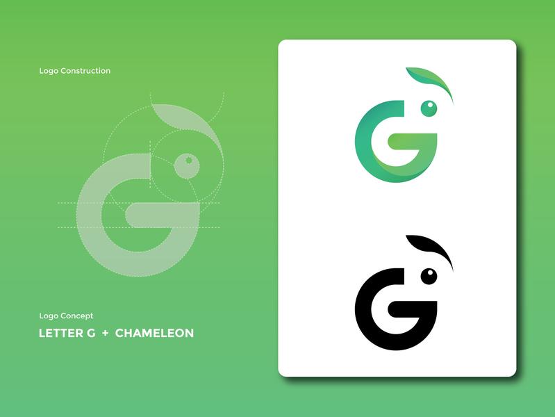 Logo Ghameleon Controction graphc ux ui typogaphy deigner design green illustration vector logo design chameleon simple lettermark badge artwork logodaily logo graphic deisgn creative branding