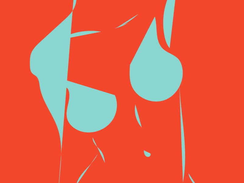 ABSTRACT TATAS boobs female illustration blue orange bold abstract naked design