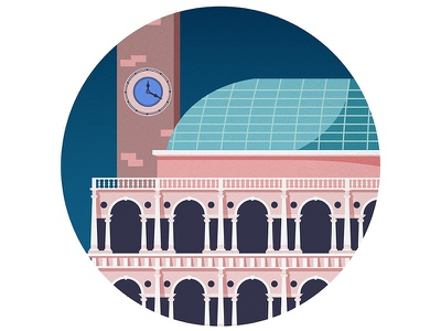 Vicenza - Basilica Palladiana vicenza view concept minimal clock palladio reinassance architecture illustration building church italy