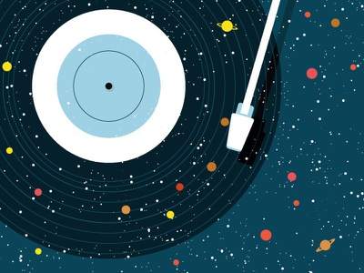 Space vinyl conceptual concept alien atlas universe planets stars illustration nasa space music vinyl
