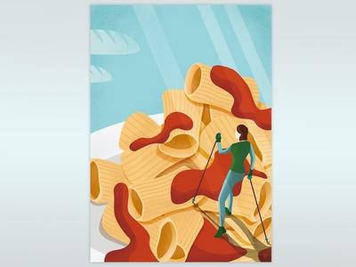 Rigatoni Mountain food people hiking spaghetti bread sauce mountain illustration conceptual italian pasta