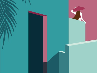 Labyrinth series: 1 shadows escher exhibition project behance blue pink exotic woman girl summer graphic city building architecture conceptual concept illustration