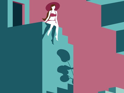 Labyrinth series: 2 exhibition editorial color green blue pink hat swim caos escher nature exotic summer woman building architecture city conceptual illustration