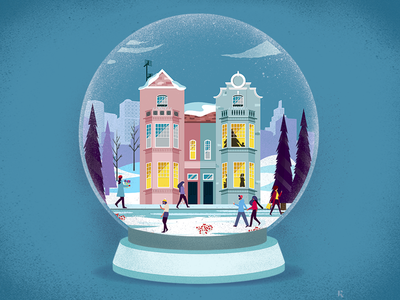 Happy Holidays graphicdesign conceptual landscape illustration gift presents winter snow merry holidays landscape city snowball christmas xmas