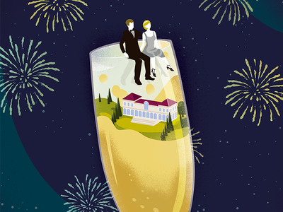 Great Gatsby New Year editorial graphic architecture house fireworks new year alcohol glass wine fitzgerald gatsby great gatsby party music conceptual concept illustration