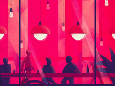 Night Out non me lo spiedo exhibition editorial magazine talk couple friends dinner restaurant colors illustrator vintage conceptual illustration