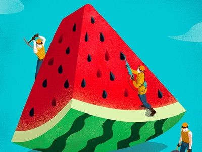 Watermelon Diamonds illustrator vector magazine summer watermelon design editorial conceptual illustration