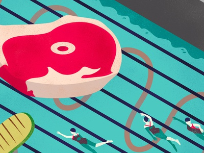 Grilled Pool vector illustration grill swim design summer illustrator graphic magazine editorial conceptual illustration food