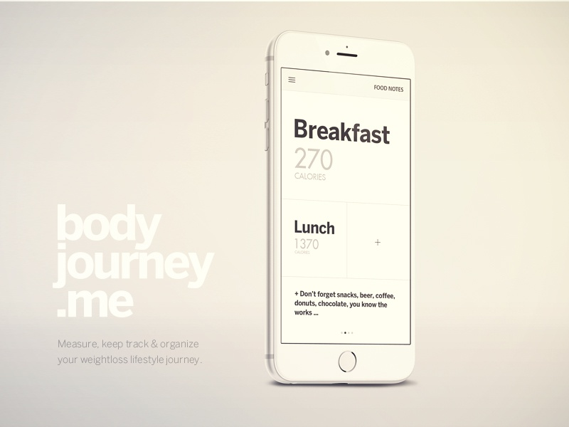 Body Journey iPhone App designer ui ux mobile apple design cool app modern clean ios8 weight loss