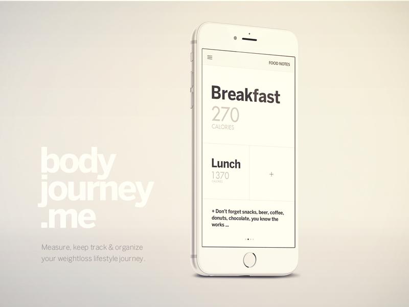 Body Journey iPhone App designer ui ux mobile apple design cool app modern clean ios8 weight loss