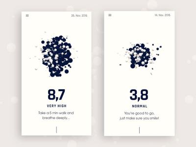Black Stress App design concept 3d record voice particles cinema 4d animation prototype concept design iphone app stress