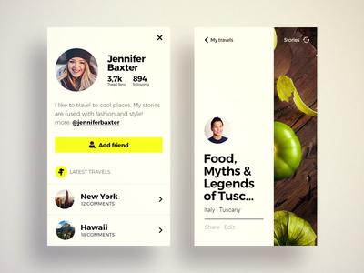 Profile screen blog modern clean flat profile ux ui iphone mobile design app travel