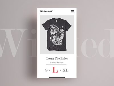 Wicked stuff T-shirt Shop branding flat simple modern font clean design mobile web t-shirt commerce shop