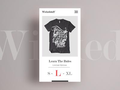 Wicked stuff T-shirt Shop branding flat simple modern font clean design mobile web t-shirt commerce shop