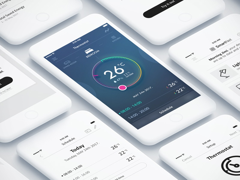 smart home thermostat mobile app ui ux by igor ivankovic. Black Bedroom Furniture Sets. Home Design Ideas