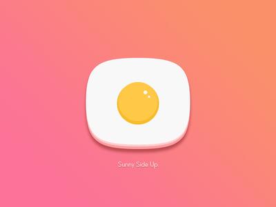 Sunny Side Up icon love garden simple kitchen farm summer fun egg app illustration design icon