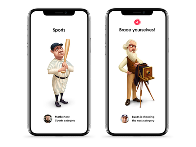 Trivia app Categories ui game appletv ux branding ios character design illustration iphone x app trivia