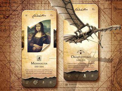 Leonardo Da Vinci Museum App sketch paper monalisa davinci art illustrator figma photoshop illustration logo branding vector icon typography app museum ux design ui