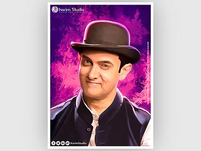 Aamir khan | Digital Painting drawing graphic tablet painting digital oil pastel digital painting aamir khan