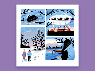Snow Days comic art sliceoflife comic animal nature editorial procreate design character drawing illustration