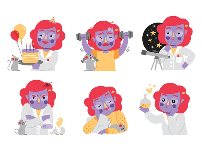 Vera, the Scientist emotions design character pack science. stem sticker drawing astronomy rubin vera