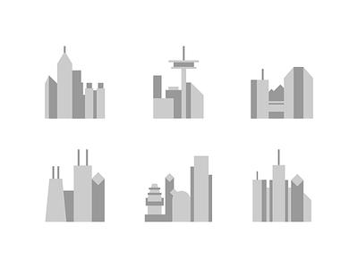 Data Centers flat illustration data building city hosting seattle phoenix minimal
