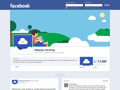 Floating Islands Facebook Cover floating cloud hosting facebook cover illustration island